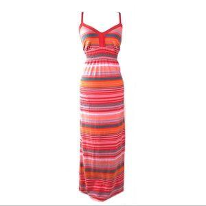 Athleta dress striped maxi orange summer boho L